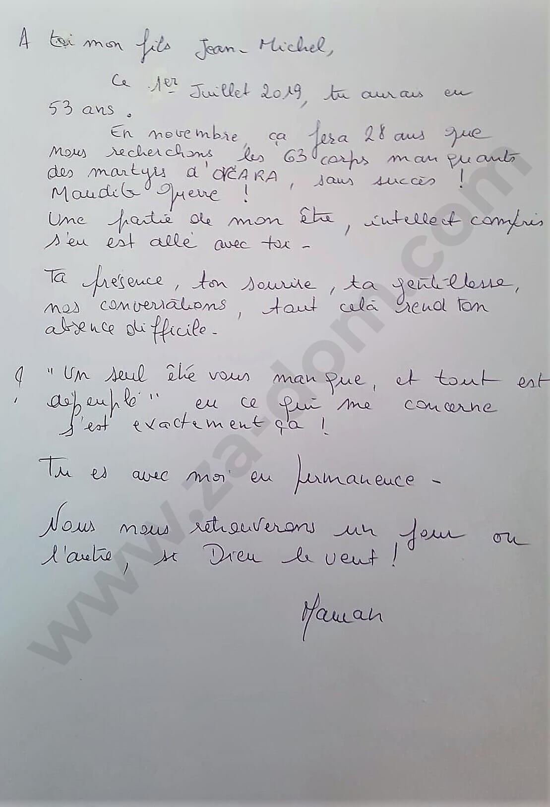 Rukom pisano pismo majke Jean-Michelu na francuskom jeziku